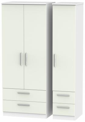 Knightsbridge 3 Door 4 Drawer Wardrobe - Kaschmir Matt and White