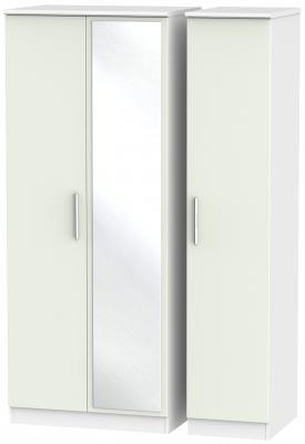 Knightsbridge 3 Door Mirror Wardrobe - Kaschmir Matt and White