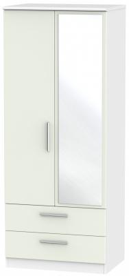 Knightsbridge 2 Door Combi Wardrobe - Kaschmir Matt and White