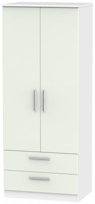 Knightsbridge 2 Door 2 Drawer Wardrobe - Kaschmir Matt and White