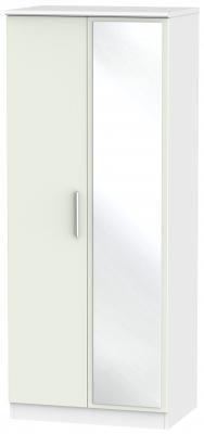 Knightsbridge 2 Door Mirror Wardrobe - Kaschmir Matt and White