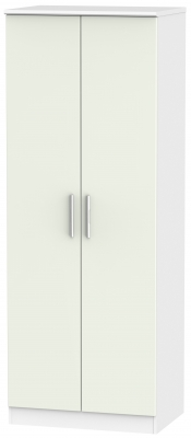 Knightsbridge 2 Door Tall Wardrobe - Kaschmir Matt and White