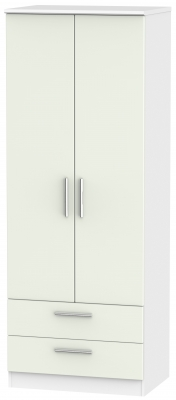 Knightsbridge 2 Door 2 Drawer Tall Wardrobe - Kaschmir Matt and White