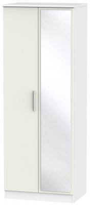 Knightsbridge 2 Door Tall Mirror Wardrobe - Kaschmir Matt and White