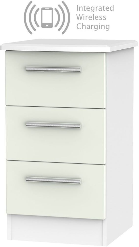 Knightsbridge 3 Drawer Bedside Cabinet with Integrated Wireless Charging - Kaschmir Matt and White