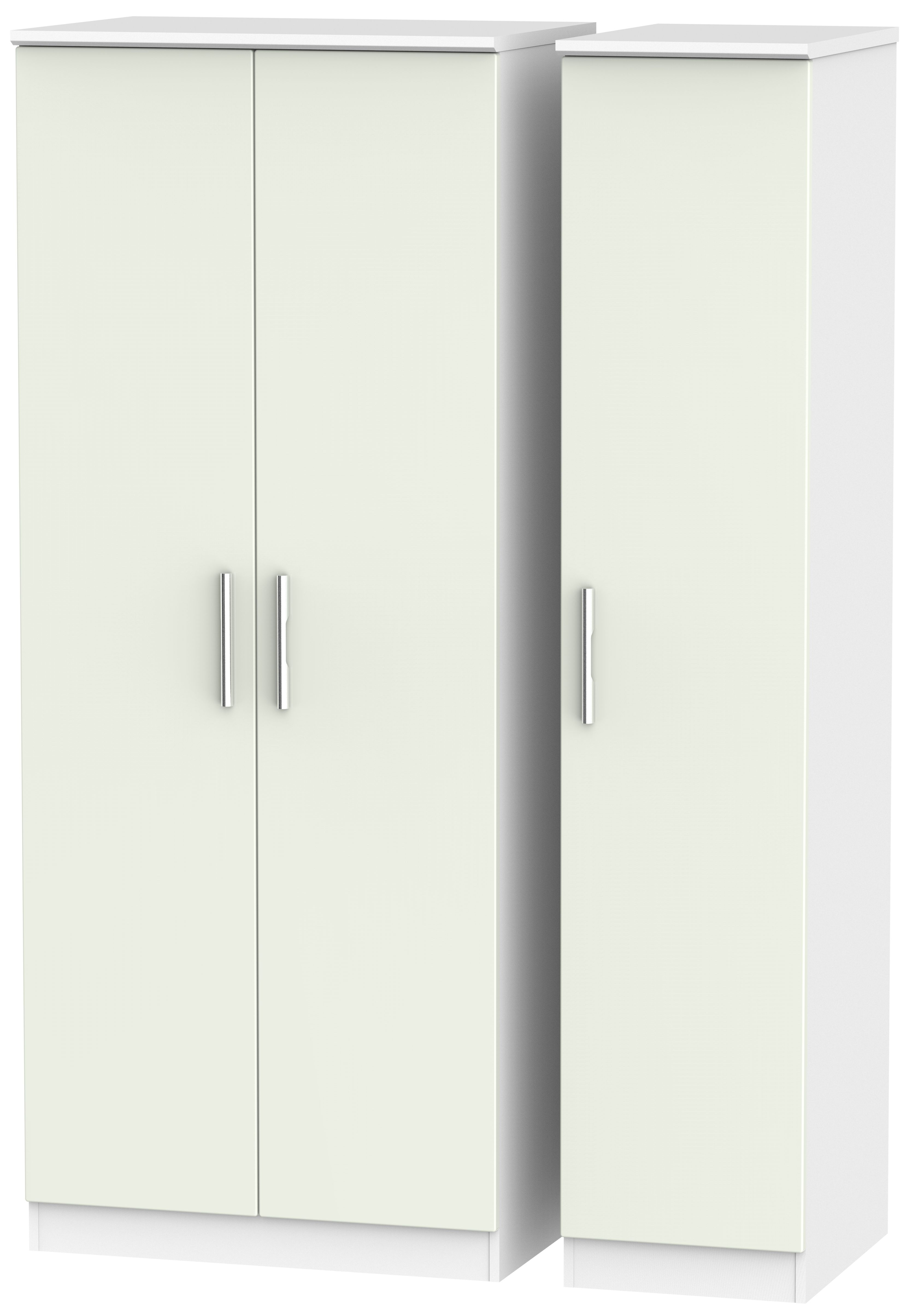 Knightsbridge 3 Door Wardrobe - Kaschmir Matt and White