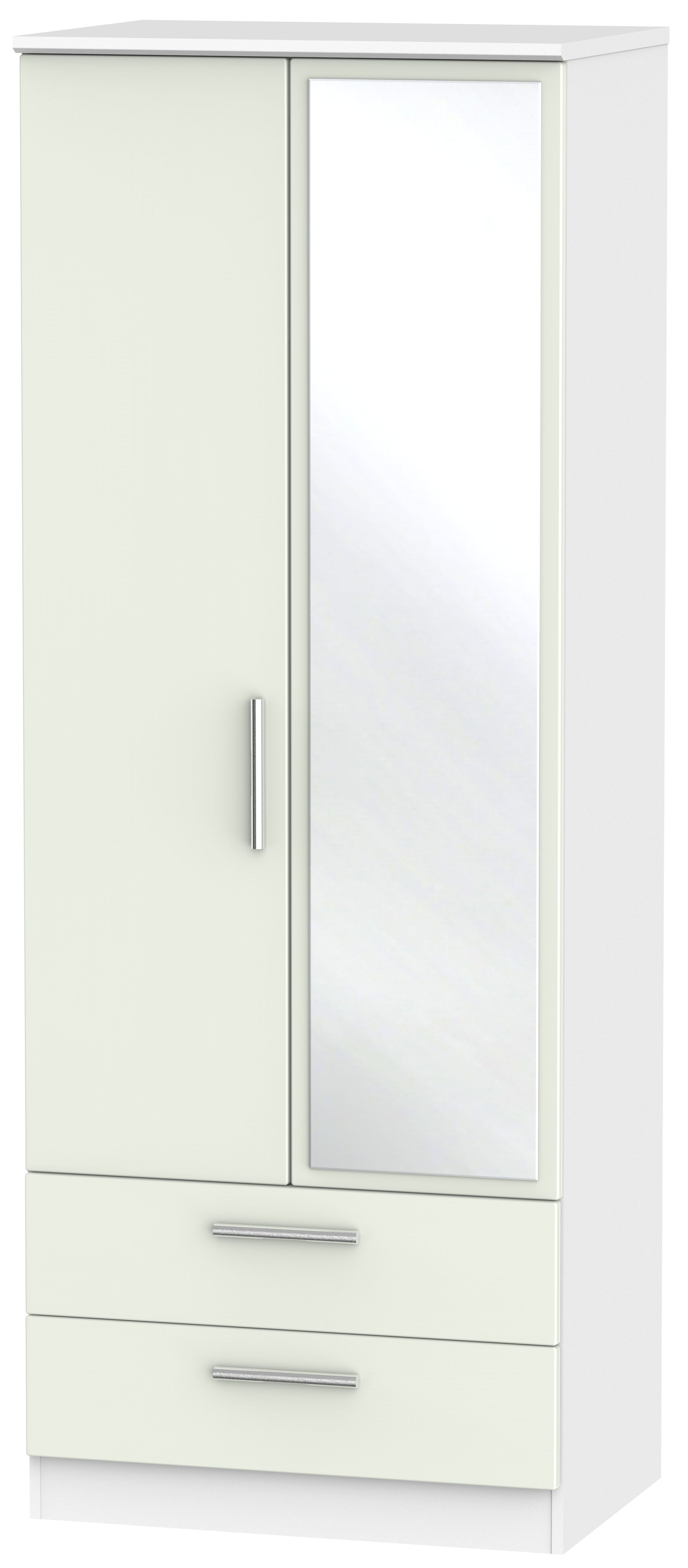 Knightsbridge 2 Door Tall Combi Wardrobe - Kaschmir Matt and White