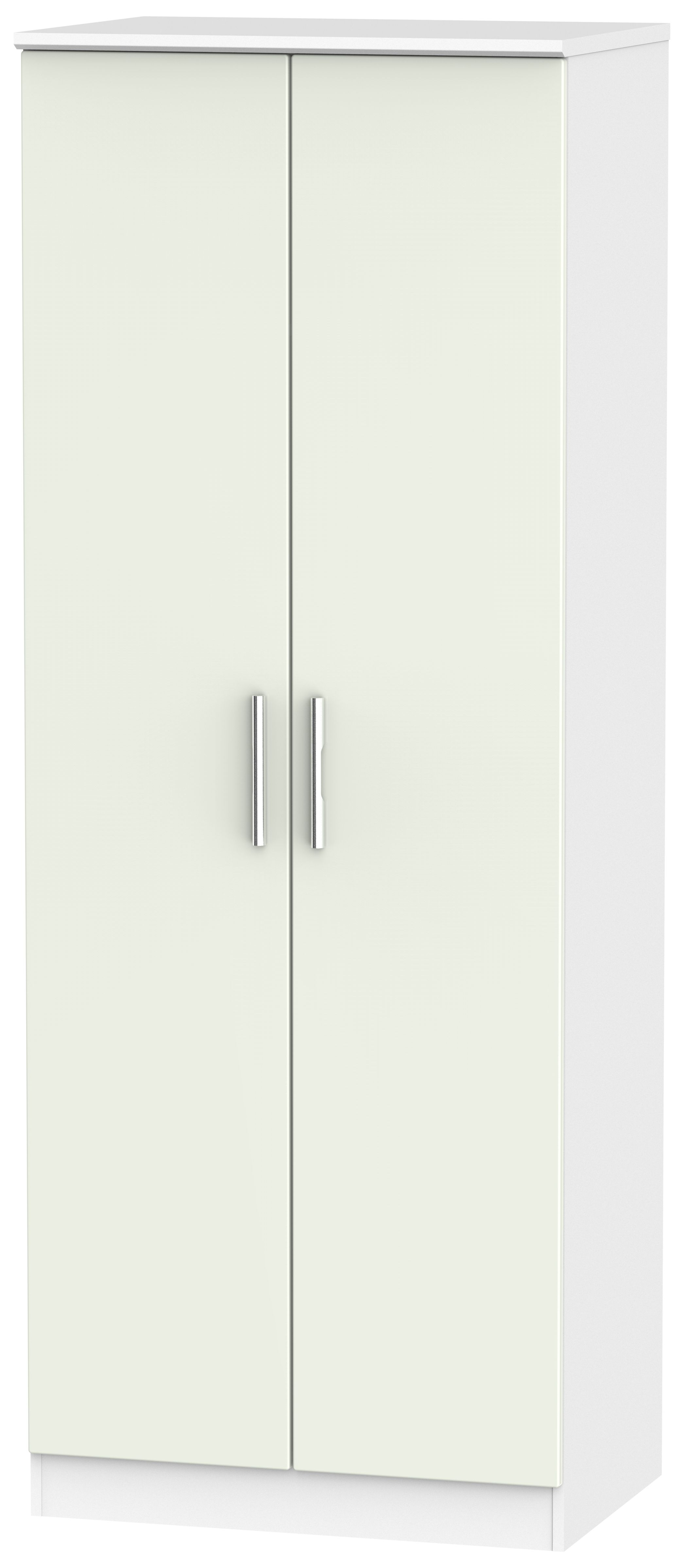Knightsbridge 2 Door Tall Hanging Wardrobe - Kaschmir Matt and White