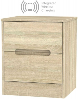 Monaco Bardolino 2 Drawer Bedside Cabinet with Integrated Wireless Charging