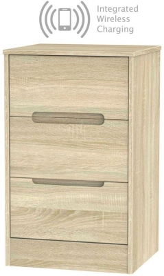 Monaco Bardolino 3 Drawer Bedside Cabinet with Integrated Wireless Charging