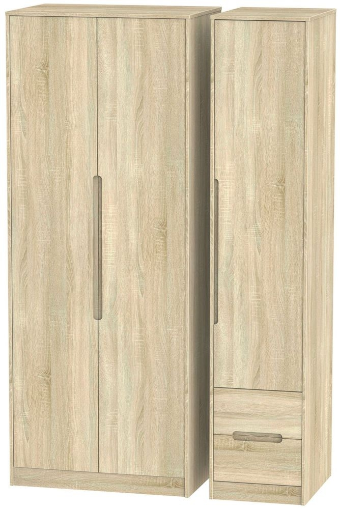 Monaco Bardolino Triple Wardrobe - Tall Plain with 2 Drawer
