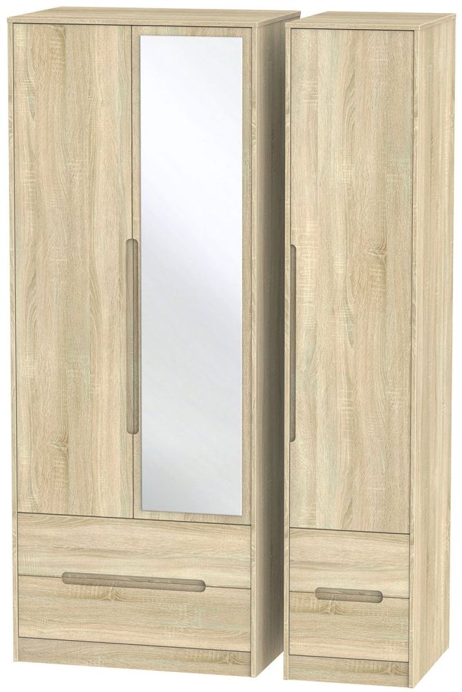 Monaco Bardolino Triple Wardrobe - Tall with Drawer and Mirror