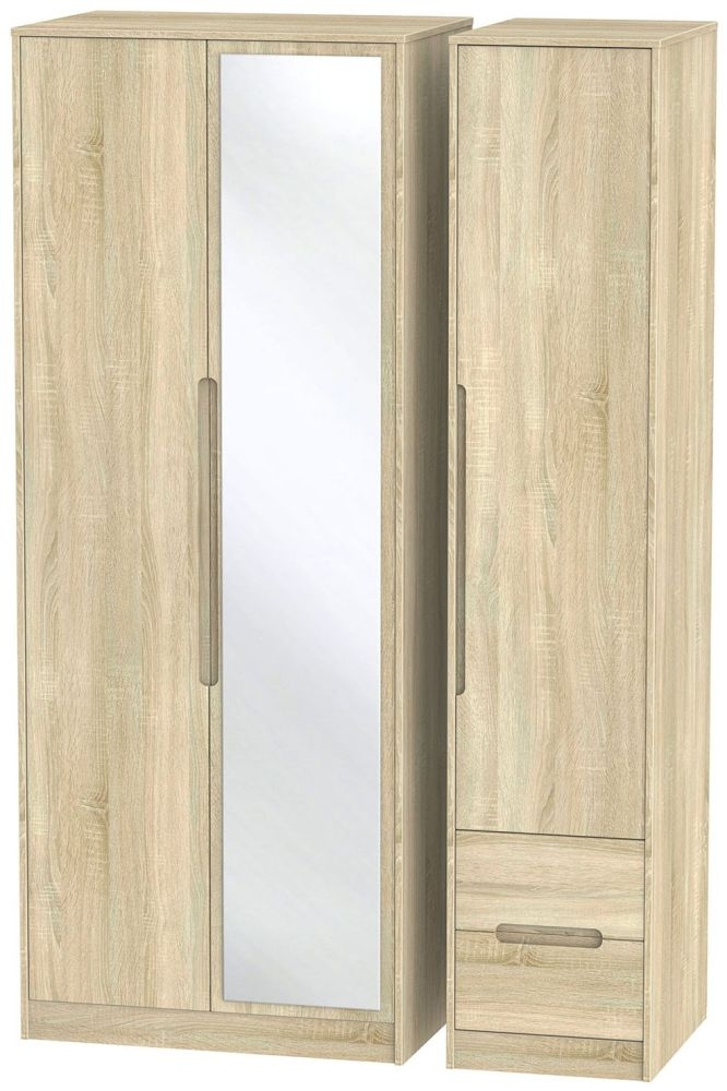 Monaco Bardolino Triple Wardrobe - Tall with Mirror and 2 Drawer