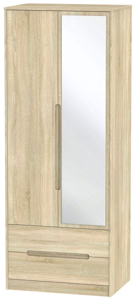 Monaco Bardolino 2 Door 2 Drawer Tall Mirror Double Wardrobe