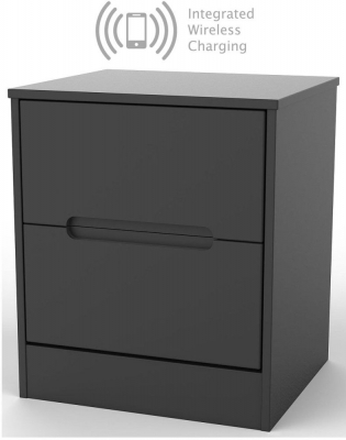 Monaco Black 2 Drawer Bedside Cabinet with Integrated Wireless Charging