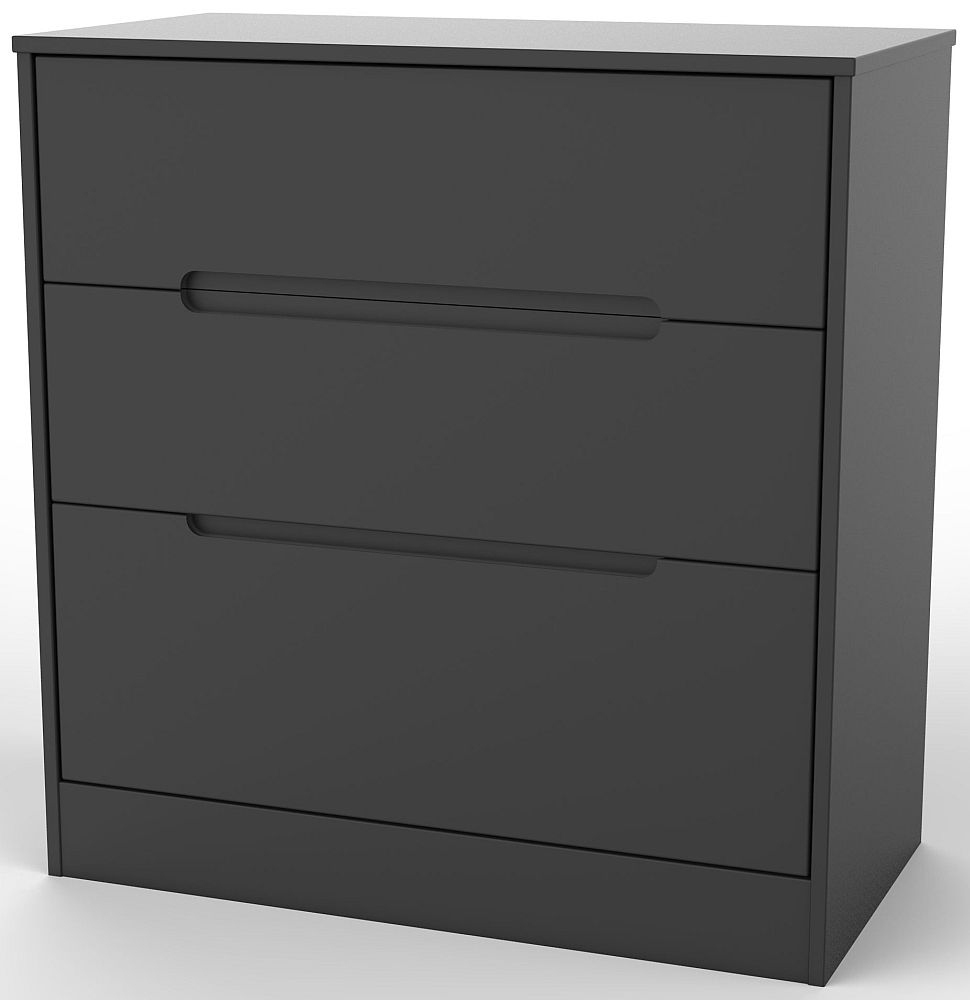 Monaco Black 3 Drawer Deep Chest