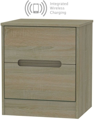 Monaco Darkolino 2 Drawer Bedside Cabinet with Integrated Wireless Charging