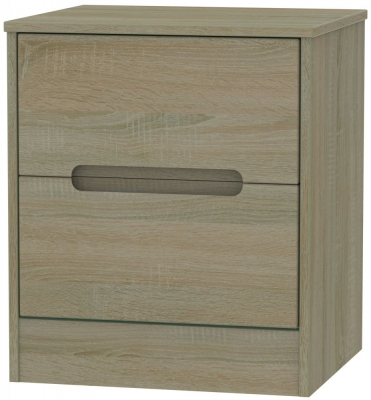 Monaco Darkolino 2 Drawer Bedside Cabinet
