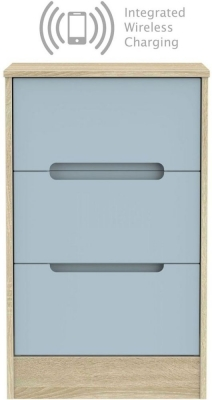 Monaco 3 Drawer Bedside Cabinet with Integrated Wireless Charging - Denim and Bardolino