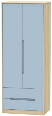 Monaco 2 Door 2 Drawer Tall Wardrobe - Denim and Bardolino
