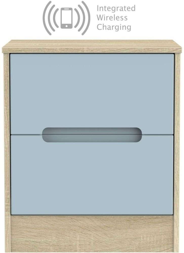 Monaco 2 Drawer Bedside Cabinet with Integrated Wireless Charging - Denim and Bardolino