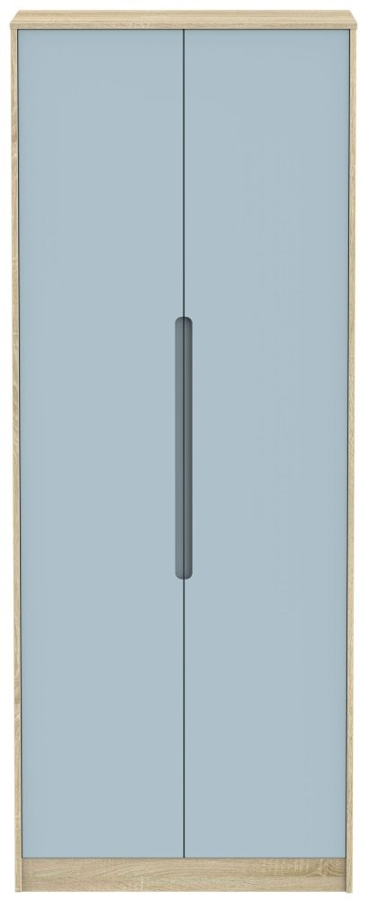 Monaco Denim and Bardolino 2 Door Tall Plain Double Wardrobe