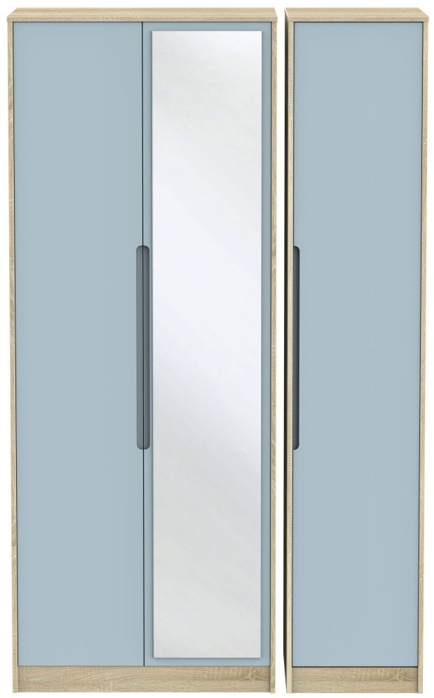 Monaco 3 Door Tall Mirror Wardrobe - Denim and Bardolino