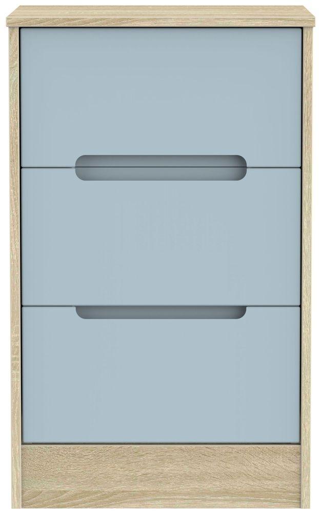 Monaco Denim and Bardolino 3 Drawer Locker Bedside Cabinet