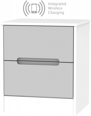 Monaco 2 Drawer Bedside Cabinet with Integrated Wireless Charging - Grey Matt and White