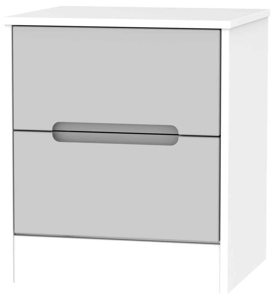 Monaco 2 Drawer Bedside Cabinet - Grey Matt and White