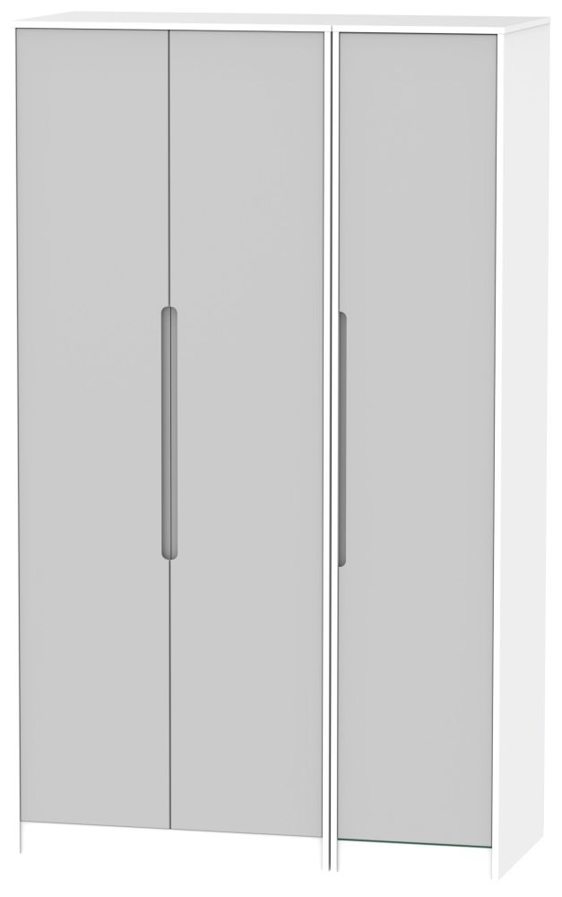 Monaco 3 Door Tall Wardrobe - Grey Matt and White