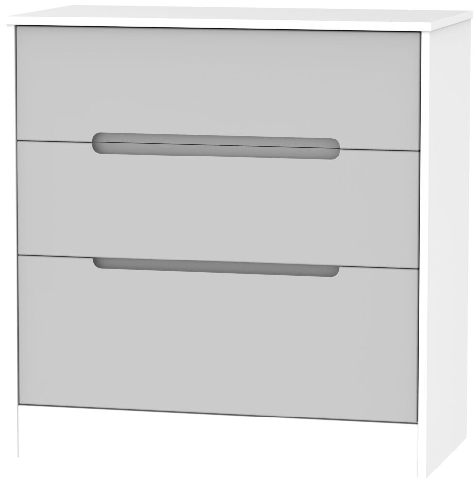 Monaco Grey Matt and White 3 Drawer Deep Chest