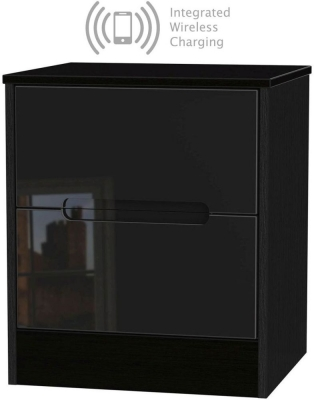 Monaco High Gloss Black 2 Drawer Bedside Cabinet with Integrated Wireless Charging