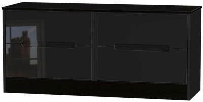 Monaco High Gloss Black Bed Box - 4 Drawer