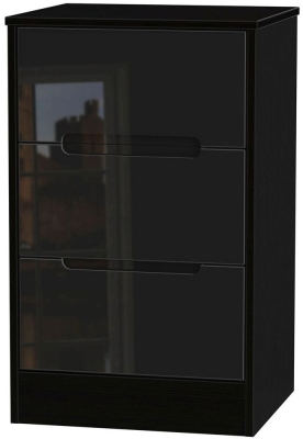 Monaco High Gloss Black Bedside Cabinet - 3 Drawer Locker