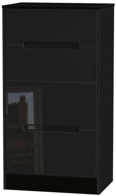 Monaco High Gloss Black Chest of Drawer - 4 Drawer Deep Midi