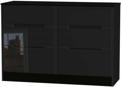Monaco High Gloss Black Chest of Drawer - 6 Drawer Midi