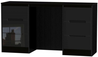 Monaco High Gloss Black Dressing Table - Knee Hole Double Pedestal