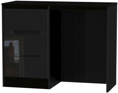 Monaco High Gloss Black Dressing Table - Vanity Knee Hole