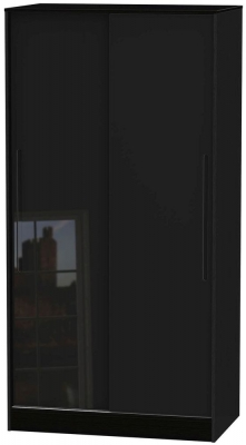 Monaco High Gloss Black Sliding Wardrobe - Wide