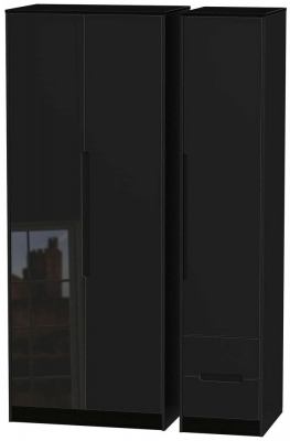Monaco High Gloss Black 3 Door 2 Right Drawer Tall Wardrobe