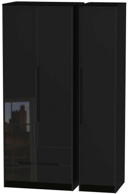Monaco High Gloss Black 3 Door 2 Left Drawer Tall Wardrobe