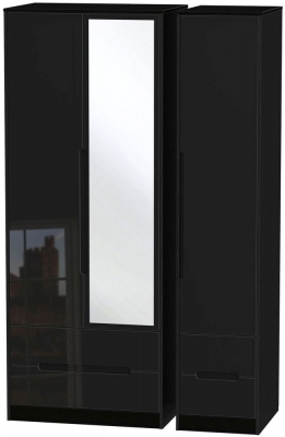 Monaco High Gloss Black 3 Door 4 Drawer Tall Combi Wardrobe