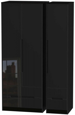 Monaco High Gloss Black Triple Wardrobe - Tall with Drawer