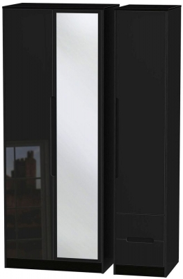 Monaco High Gloss Black Triple Wardrobe - Tall with Mirror and 2 Drawer