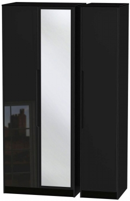Monaco High Gloss Black 3 Door Tall Mirror Wardrobe