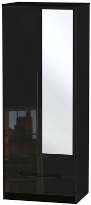 Monaco High Gloss Black 2 Door Tall Combi Wardrobe