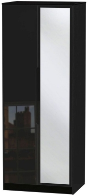 Monaco High Gloss Black 2 Door Tall Mirror Wardrobe