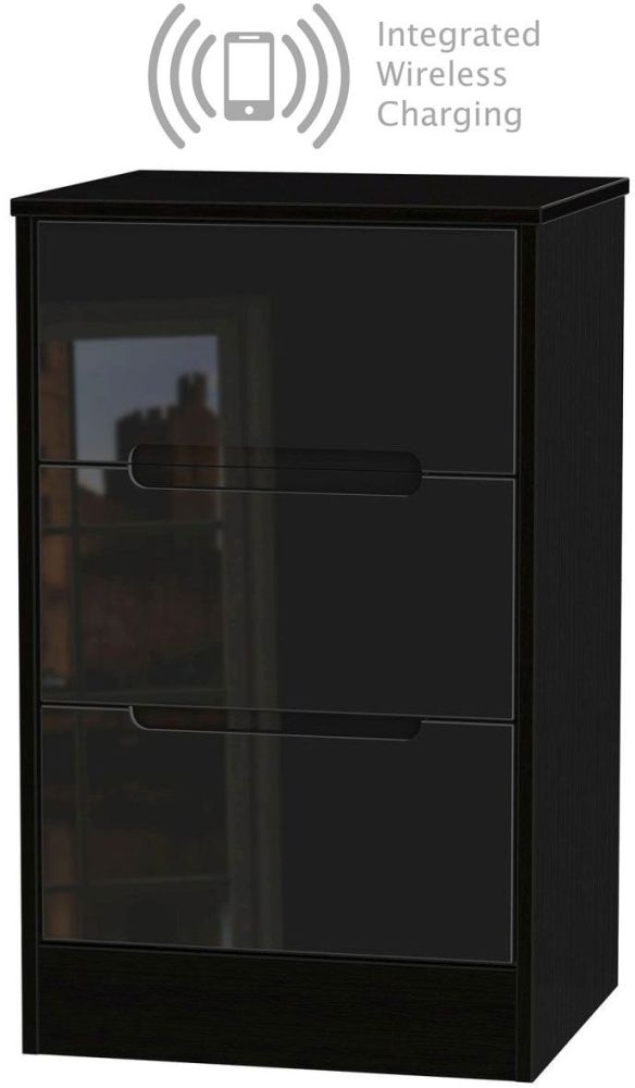 Monaco High Gloss Black 3 Drawer Bedside Cabinet with Integrated Wireless Charging