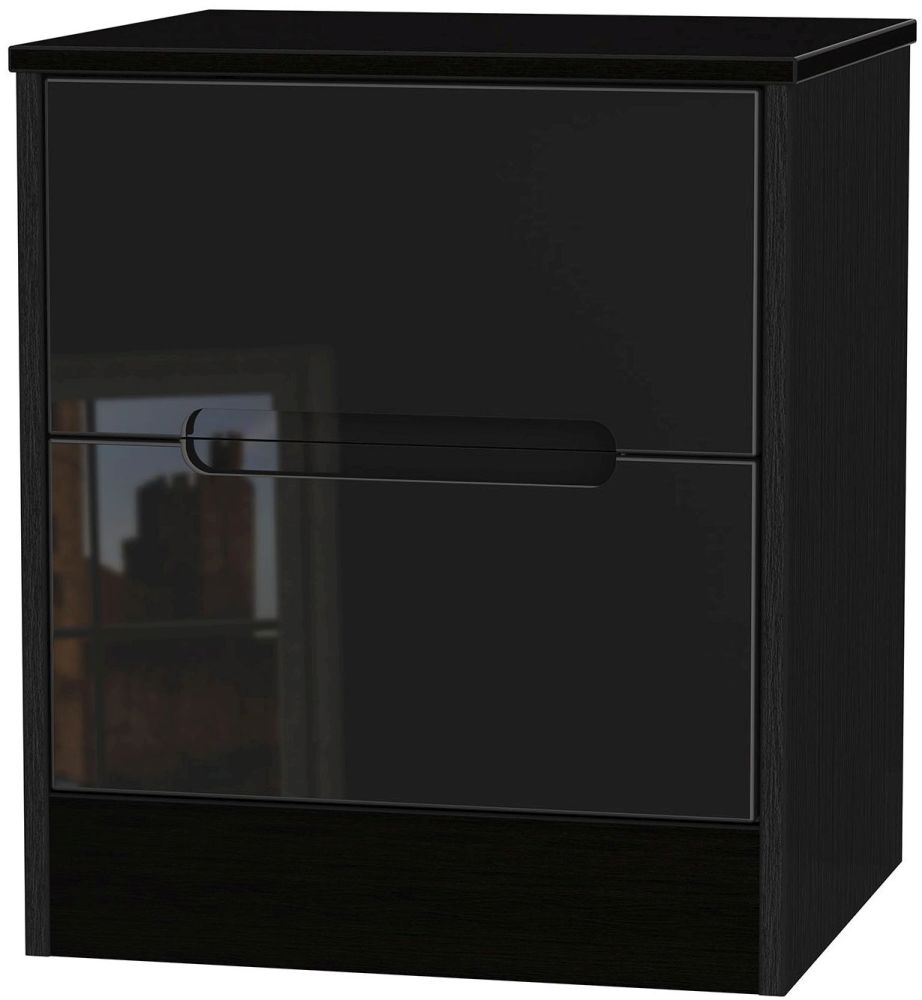 Monaco High Gloss Black 2 Drawer Bedside Cabinet